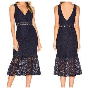 BARDOT Fiona twilight trumpet lace dress • new